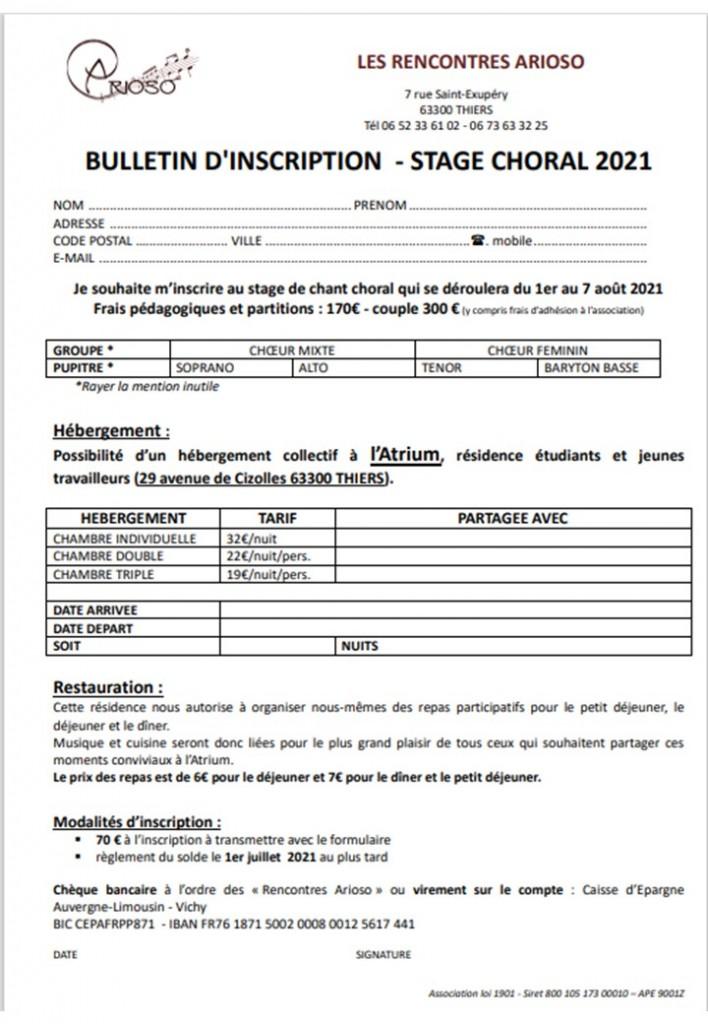 bulletin inscription stage arioso 2021